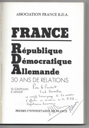 Three Books Inscribed to Honecker.] France. Républigue Démocratique Allemande. 30 Ans de...