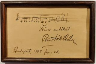 Autograph Musical Quotation of Schumann's Album für die Jugend, Signed and Inscribed by Béla...