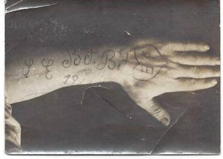 A Collection of Five Early 20th Century Photographs of Hungarian Arm Tattoos