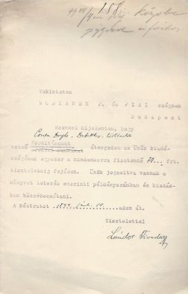 Contract for Arthur Conan Doyle translations TLS. Tivadar Lándor