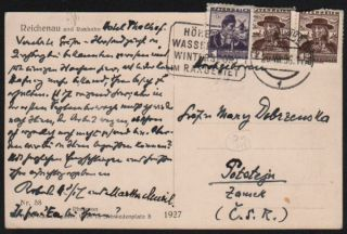 Robert Musil's Holograph Postcard to Countess Mary Dobrzensky in Potštejn [Potstejn]...