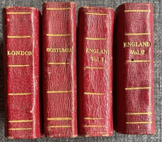Miniature Historic Library (4 volume), 1. London in miniature with engravings of its public buildings and antiquities. 2: Costumes of different nations in miniature. 3: Pictures of English history in miniature, vol.1. 4: Pictures of English history in miniature, vol.2.