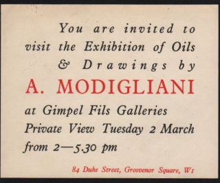 """Catalogue for the """"Exhibition of Oils & Drawings by Amadeo Modigliani"""". (With an introduction by Eric Newton.)"""
