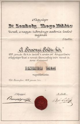Miklós Konkoly-Thege's Appointing Document as Honorary Member of the in Pozsonyi Toldy-kör...