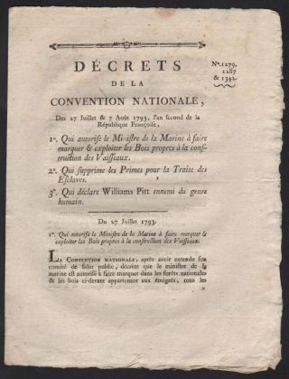 [Caption title:] Décrets de la Convention Nationale, Des 27 Juillet & 7 Août 1793, l'an second de la République Françoise. […]