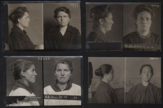 Collection of Eleven 1920s Mugshots from Belgium, Three Typological Portraits of Women