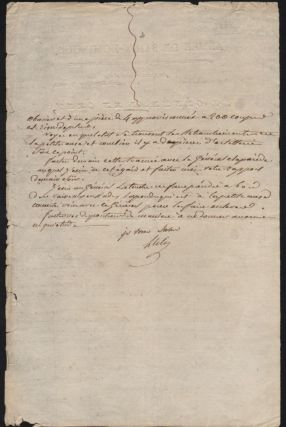 Genereal Leclerc's Handwritten Letter to Artillery Brigade Commander Alex, on October 3, 1802.