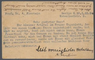 Einstein's Postcard to Heinrich Teweles. Albert Einstein.