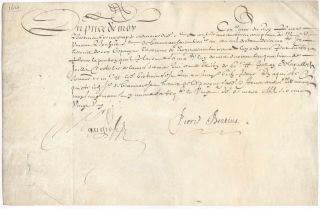 Signed Receipt on Vellum. Petrus Bertius