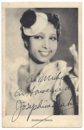 Josephine Baker's inscribed Photo Postcard. Josephine Baker