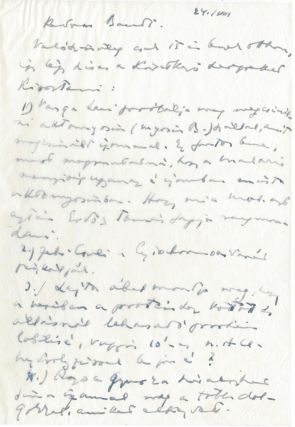 Holograph Letter to the Trustee at the Biochemistry Department. Albert Szent-Györgyi, Mr....