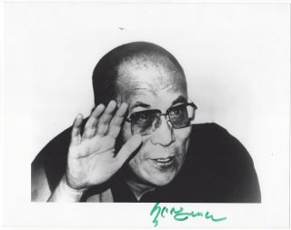 Signed portrait of the Dalai Lama. Dalai Lama, Tenzin Gyatso.