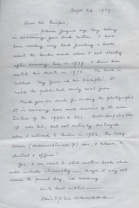 Autograph Letter by Christopher Isherwood. Christopher Isherwood